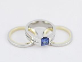 Sapphire, 9ct yellow gold, palladium.