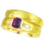24ct gold, 9ct gold, flawless Mozambique ruby, reclaimed diamonds