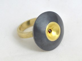 Rare Queensland ruby in 22ct gold and shakudo