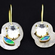 Ocean's blue black opal earrings